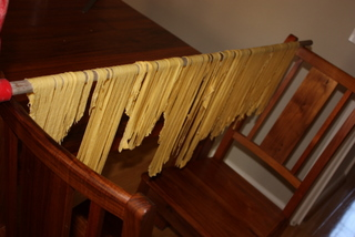 Fettucine hanging to dry