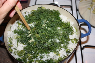 Layer broad beans and dill mix