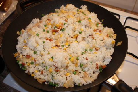 Fried rice before the soy is added
